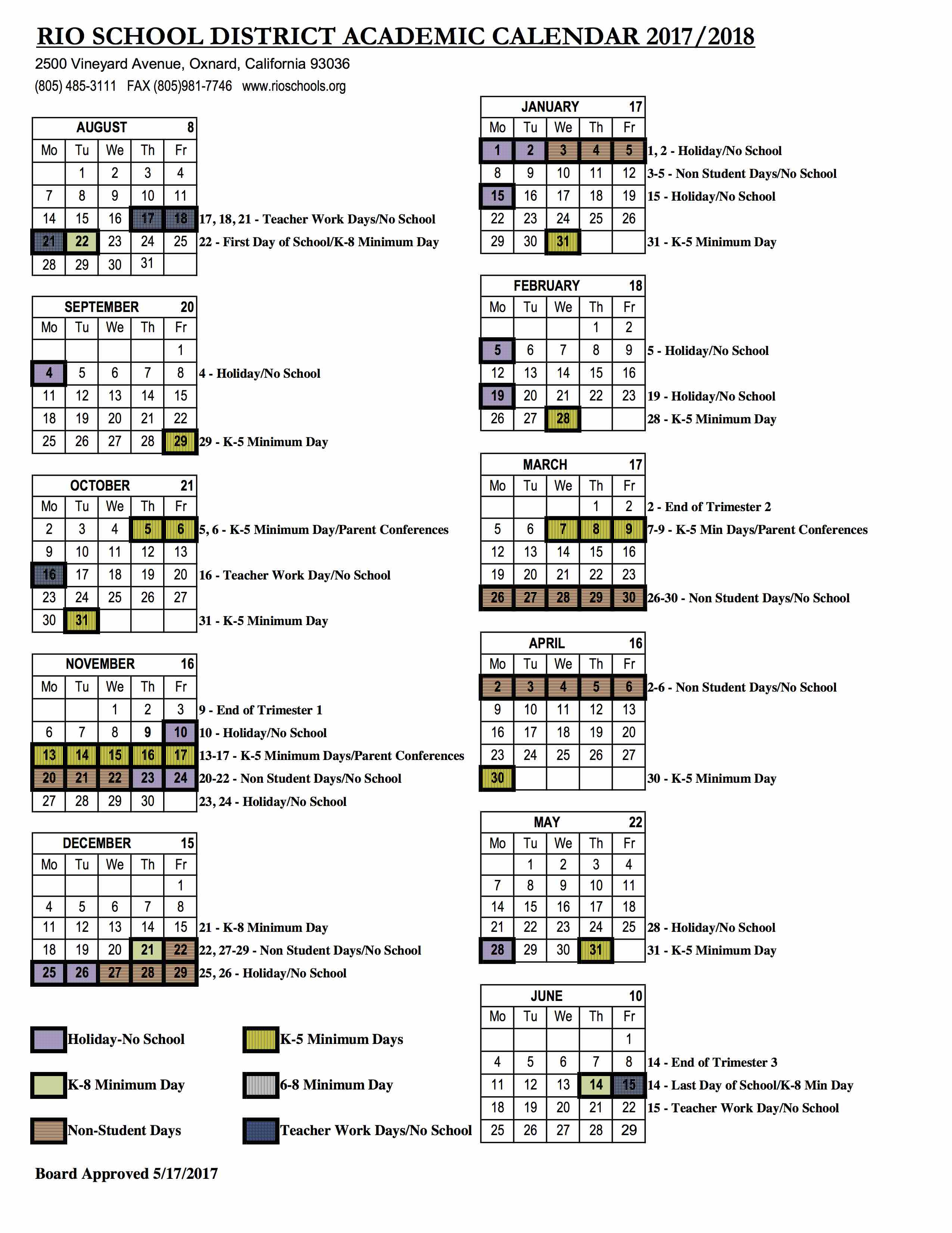 2017 2018 Academic Calendar – Rio School District
