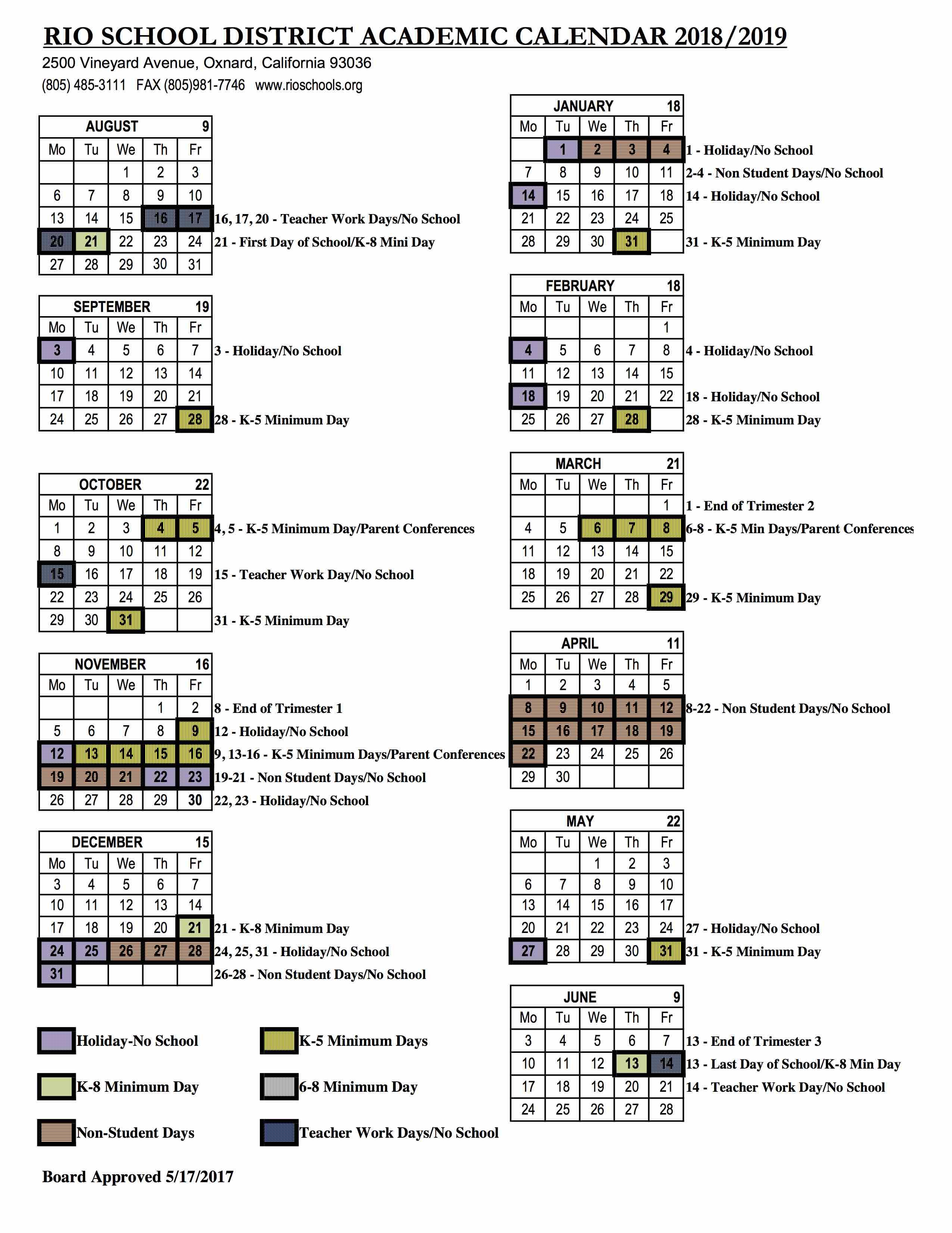 2018 2019 academic calendar rio school district